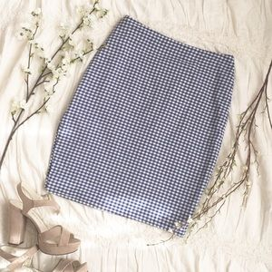 Blue Gingham Pencil Skirt